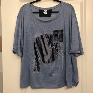 Anthropologie Akemi + Kin Blue Velvet Tee Size XL